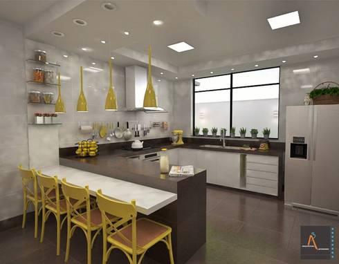 Cozinha MA: Cocinas de estilo moderno por Ao Cubo Arquitetura e Interiores