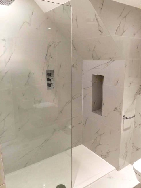 En-suite Bathroom with Carrara Marble Effect Porcelain Tiles by ...