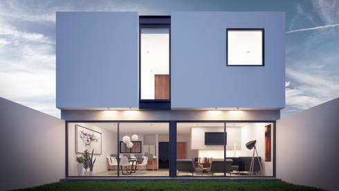 Fachada Posterior: Casas de estilo moderno por Taller Tres