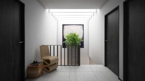 Vestíbulo segundo piso: Pasillos y recibidores de estilo  por Taller Tres