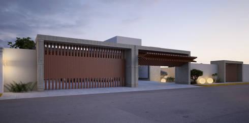 Portón de madera: Casas de estilo moderno por AParquitectos