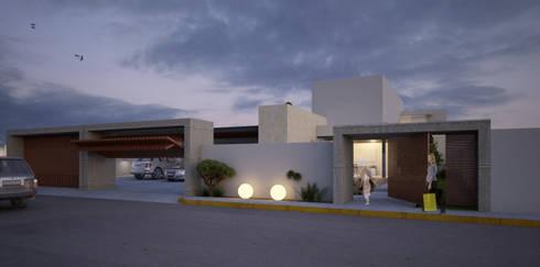 Fachada exterior: Casas de estilo moderno por AParquitectos