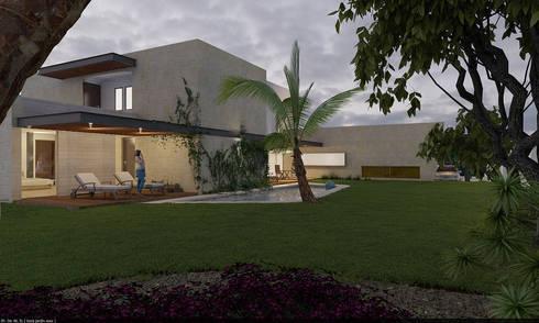 Fachada interior: Albercas de estilo moderno por AParquitectos