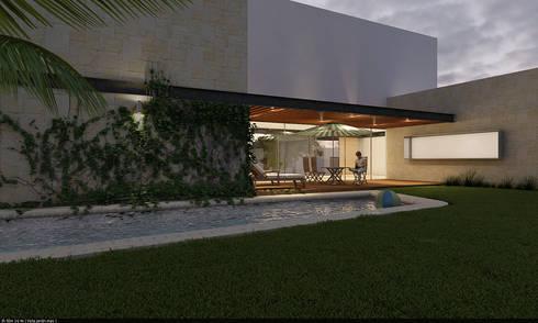 Alberca: Albercas de estilo moderno por AParquitectos