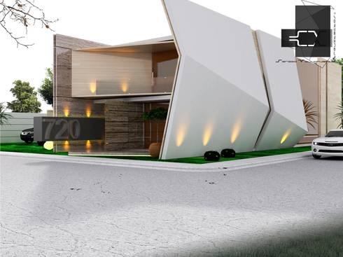 RESIDENCIA DB; PACHUCA HIDALGO, MÉXICO: Casas de estilo ecléctico por Sergio Villafuerte -ARQUITECTOS-