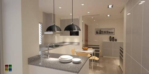 REHABILITACIÓN INTEGRAL DE UNA VIVIENDA EN EL BARRIO DE LES CORTS: Cocinas de estilo moderno de Estudio Arquitectura Ricardo Pérez Asin