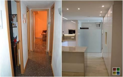 DESAPARECE EL PASILLO Y SE AMPLIA LA COCINA: Cocinas de estilo moderno de Estudio Arquitectura Ricardo Pérez Asin