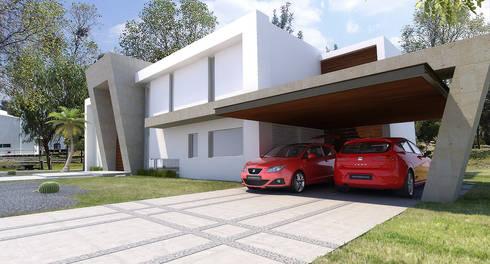 Cochera: Casas de estilo moderno por AParquitectos