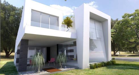 Fachada posterior: Casas de estilo moderno por AParquitectos
