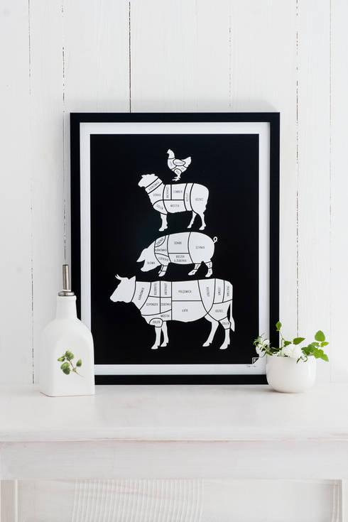 U rzeźnika - grafika 30x40 cm: styl , w kategorii Kuchnia zaprojektowany przez Follygraph