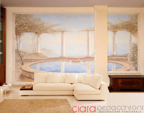 Affresco su parete di un soggiorno di clara pedacchioni interior