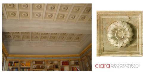 Soffitto cassettoni decorazione a rosoni trompe l oeil di clara