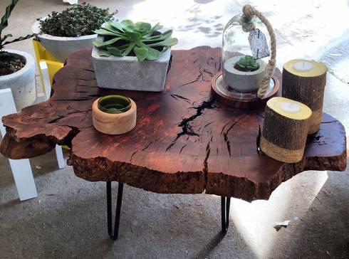 Mesa de trocnco de pino : Hogar de estilo  por MADERA