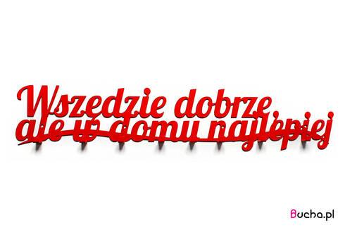 Wszędzie dobrze- wieszak z napisem do przedpokoju czerwony: styl , w kategorii Korytarz, hol i schody zaprojektowany przez Bucha