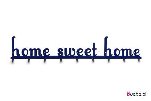Home sweet home granatowy wieszak do przedpokoju na ubrania z napisem niebieski: styl , w kategorii Korytarz, hol i schody zaprojektowany przez Bucha