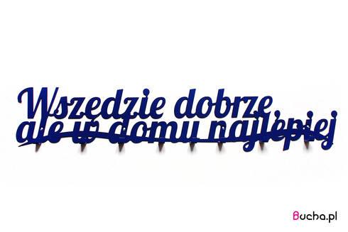 Wszędzie dobrze- wieszak z napisem do przedpokoju granatowy, niebieski: styl , w kategorii Korytarz, hol i schody zaprojektowany przez Bucha