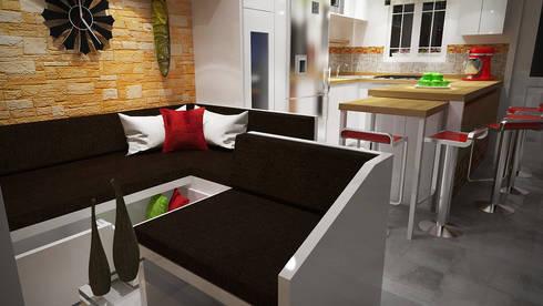 Dise o sala cocina comedor por rbritointeriorismo homify for Diseno sala comedor cocina