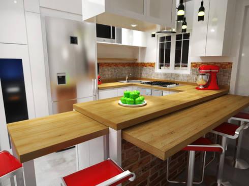 Diseño Sala-Cocina/Comedor : Cocinas de estilo moderno por Rbritointeriorismo