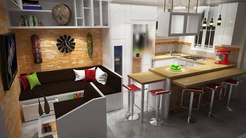 Diseño Sala-Cocina/Comedor : Comedores de estilo moderno por Rbritointeriorismo