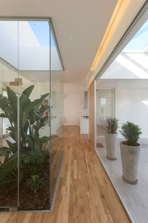 PATIO INTERNO: Pasillos y recibidores de estilo  por VISMARACORSI ARQUITECTOS