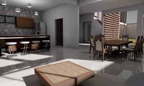 Casa Sin Rostro: Cocinas de estilo minimalista por ARQUITECTURA MB&A