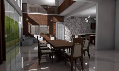 Casa Sin Rostro: Comedores de estilo minimalista por ARQUITECTURA MB&A