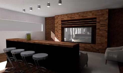 Casa Sin Rostro: Salas multimedia de estilo minimalista por ARQUITECTURA MB&A