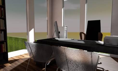 Casa Sin Rostro: Estudios y oficinas de estilo minimalista por ARQUITECTURA MB&A