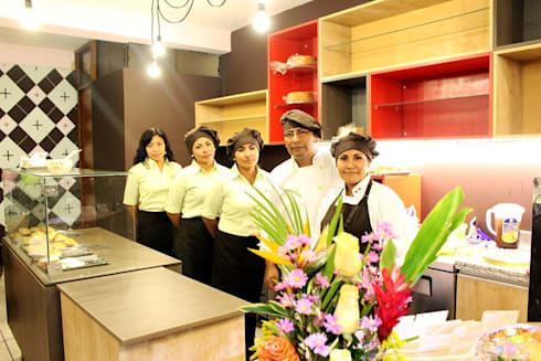 Una pequeña pasteleria con mucha personalidad: Restaurantes de estilo  por A3 Interiors