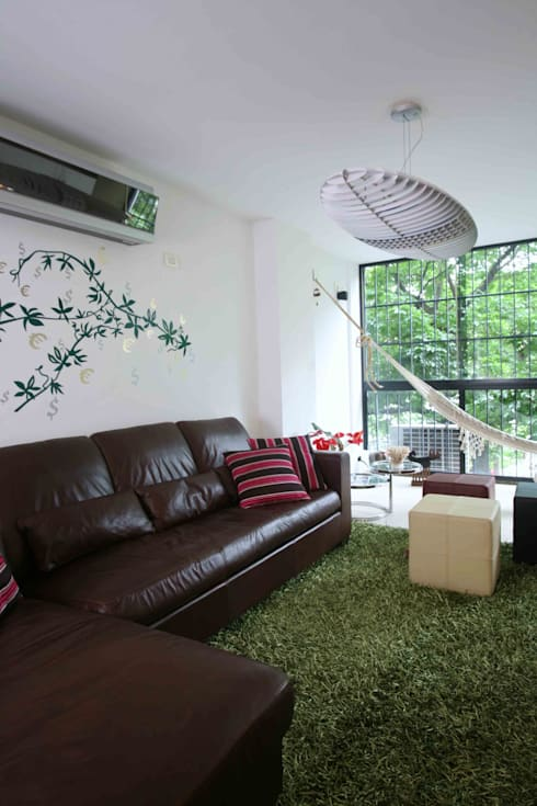 Apartamento 13A: Salas / recibidores de estilo moderno por Objetos DAC