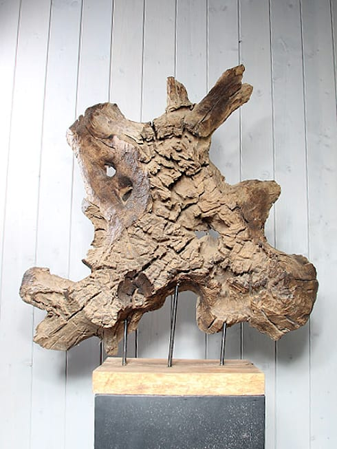 Houten decoratie houtsculpturen uit teakhout door ho for Houten schijven decoratie