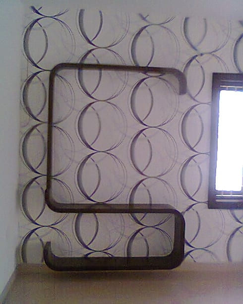 Wallpapers at 8Streaks Hyderabad:  Living room by Eight Streaks Interiors
