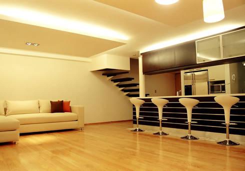 AH - RIMA Arquitectura: Salas de estilo moderno por RIMA Arquitectura