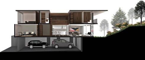 Casa Bosque Real - RIMA Arquitectura: Garajes de estilo moderno por RIMA Arquitectura