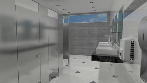 Baño publico dentro del corporativo: Baños de estilo  por Ingenieros y Arquitectos Continentes