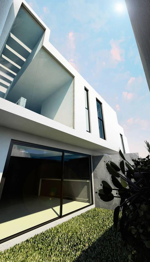 CASA RESIDENCIAL EL CIELO: Casas de estilo minimalista por Flores Rojas Arquitectura