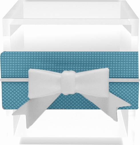 SMALL MULTI-USE BOX WITH RIBBON BLUE/GREY: Casa  por Manuela Bento Decor