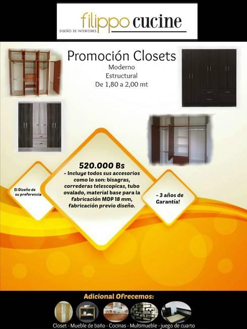 Closet's modernos!: Closets de estilo moderno por Filippo Cucine C.A.