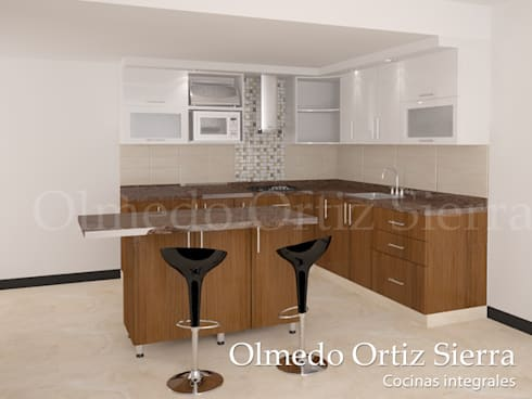 Cocina caf y blanca de cocinas integrales olmedo ortiz Disenos de cocinas integrales blancas