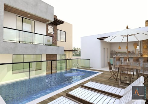 Residencia MJ: Casas de estilo moderno por Ao Cubo Arquitetura e Interiores