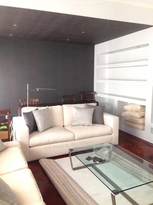 Zona de Estar e Escritório: Salas de estar ecléticas por  Rita Salgueiro - Full Ideas