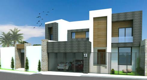 FACHADA PRINCIPAL: Casas de estilo moderno por Acrópolis Arquitectura