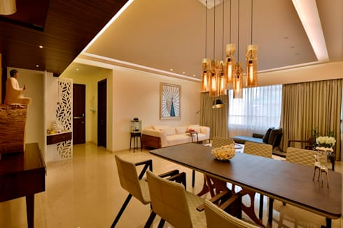 4 Bed Apartment Interior: minimalistic Dining room by Aum Architects