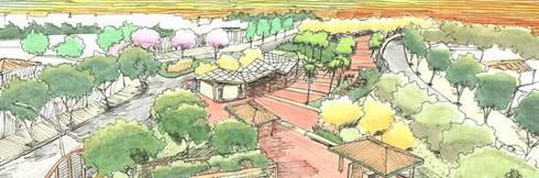 Projectos de Arquitectura Paisagista: Lojas e espaços comerciais  por ECOSSISTEMAS; Áreas Verdes e Sistemas de Rega.