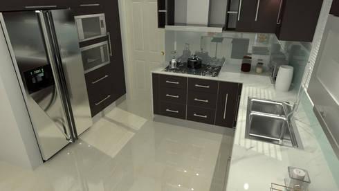 Proyecto Diseño Interior (COCINA): Cocinas de estilo moderno por UNESPACIO360