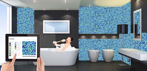 Badkamer afwerking : uniek glasmozaiek door MyMosaic | homify