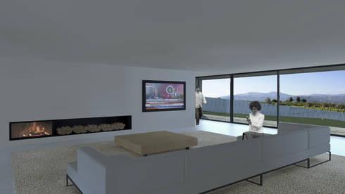 Casa Lamego: Salas de estar modernas por Lousinha Arquitectos