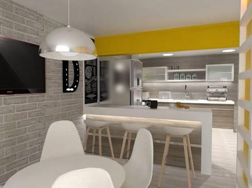 COCINA-COMEDOR: Cocinas de estilo ecléctico por AurEa 34 -Arquitectura tu Espacio-