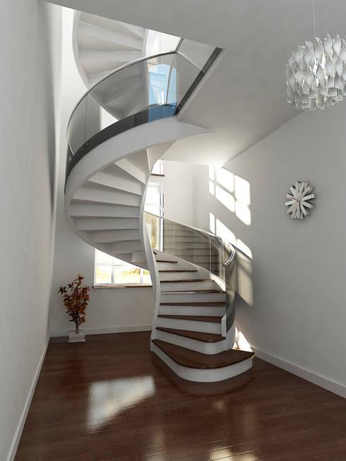 schody: styl , w kategorii Korytarz, przedpokój zaprojektowany przez A.P. RUD Schody