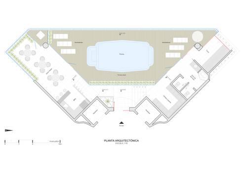 Planta diseño arquitectónico:  de estilo  por John Robles Arquitectos